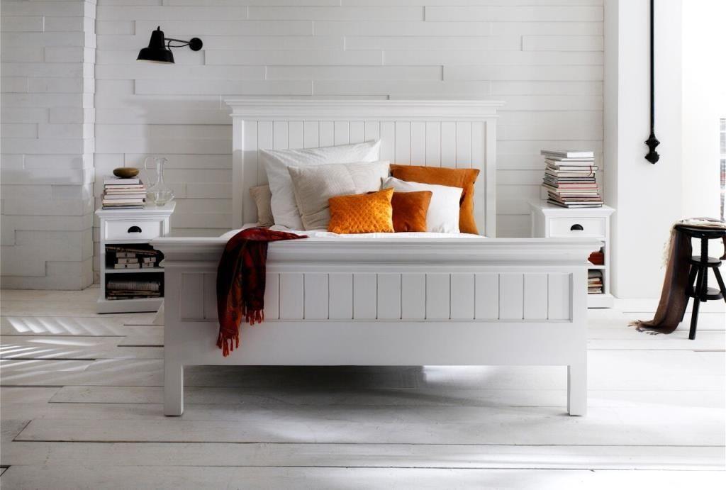 Lit King Size Bois Blanc Acajou 180x215cm Royan Meuble Chambre A Coucher Chambre Design Lits Peints