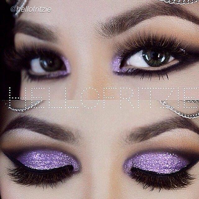 Purple glitter eye look by #hellofritzie using Motives! motivescosmetics.com/alissap