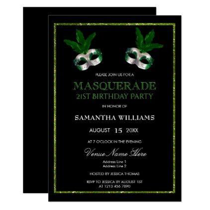Glitzy Green Glitters Masquerade 21st Birthday Card