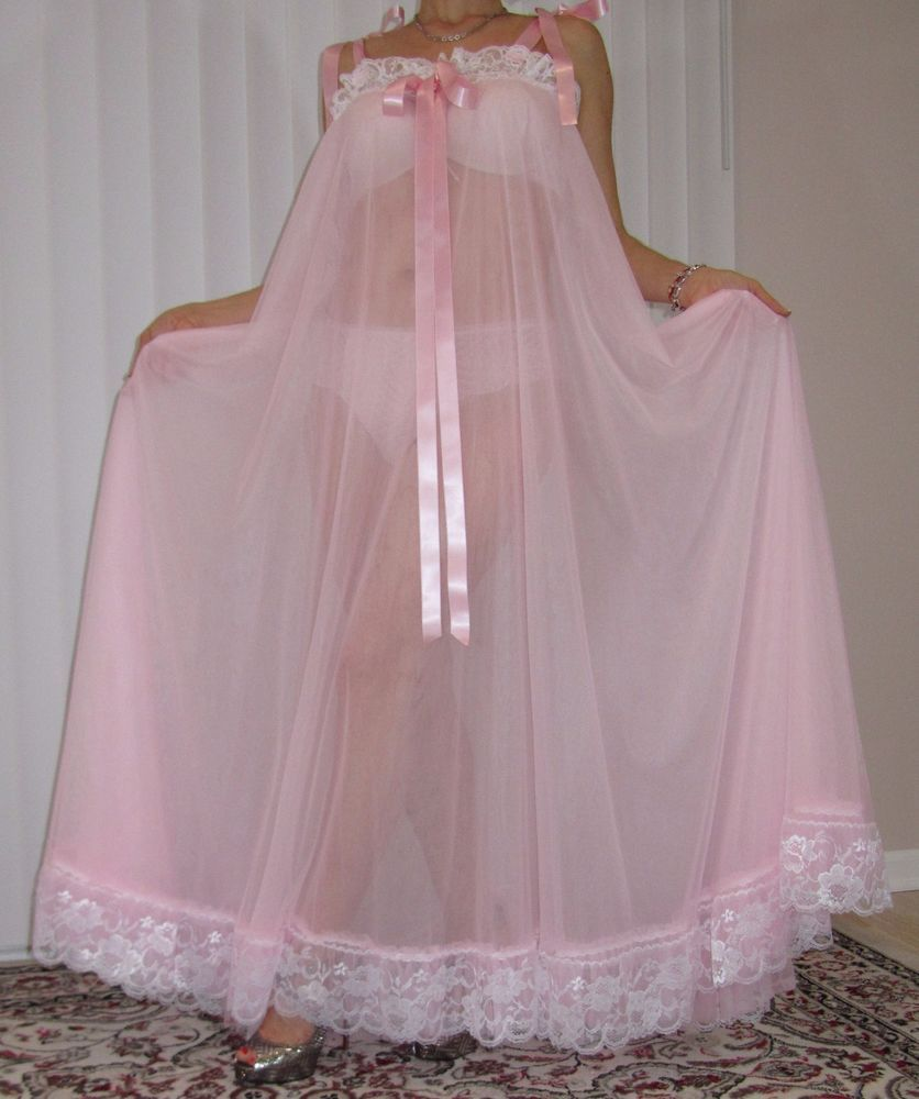 Vtg Lingerie Double Layer Nylon Slip Full Sweep Negligee Babydoll Nightgown L-4X Unbranded  -4269