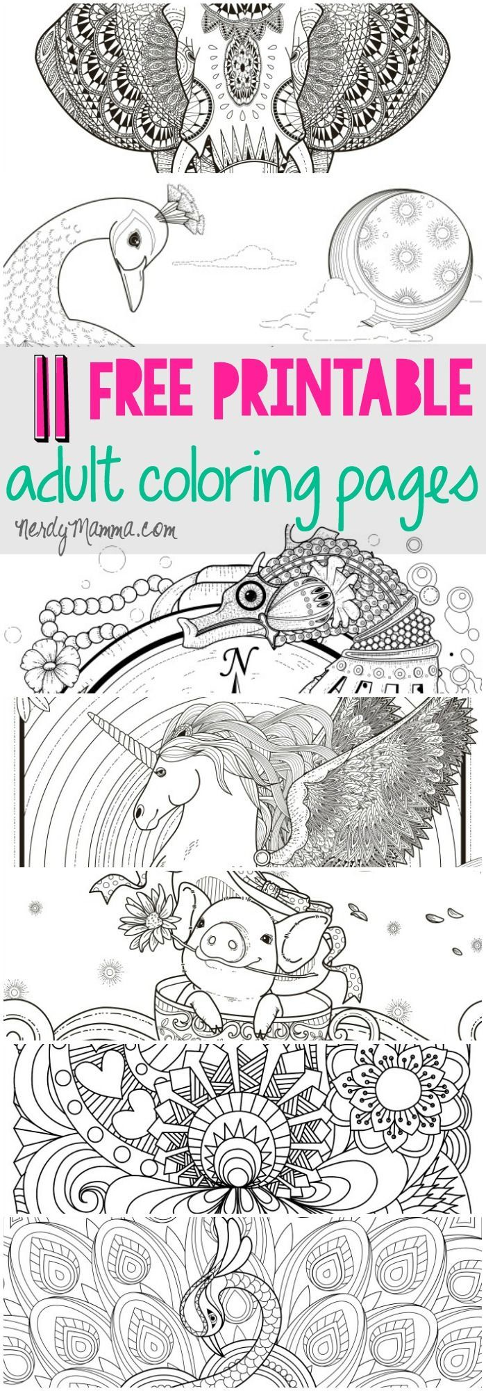 I love these free printable adult coloring pages. a page for every ...