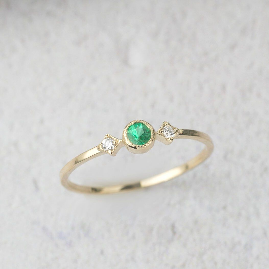 Details about  /10k solid gold 3 stone Ring,gold Ring-Dainty Ring Diamond Ring unique ring