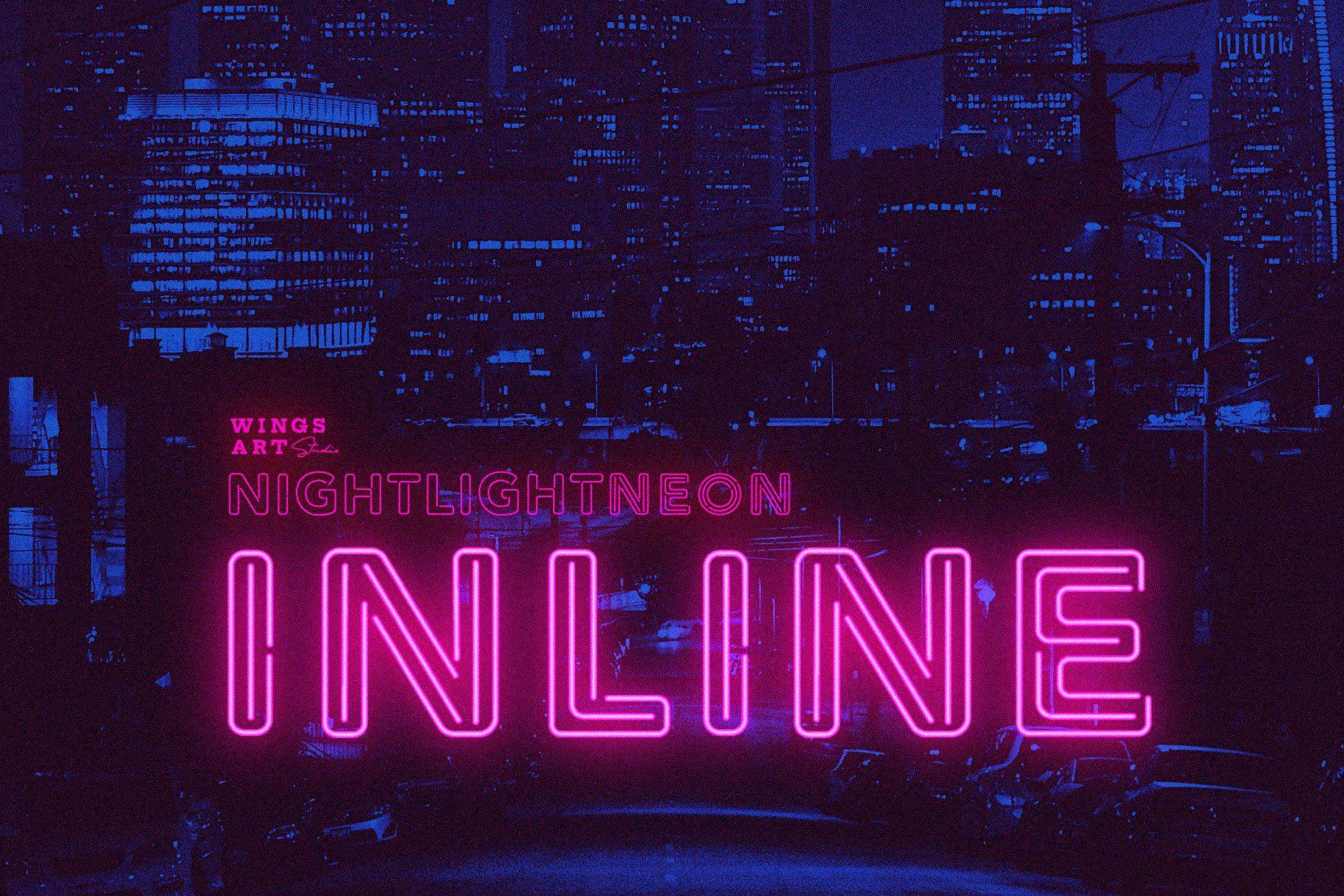 Retro Neon Font Inline Style In 2020 Wings Art Neon Script Font Style