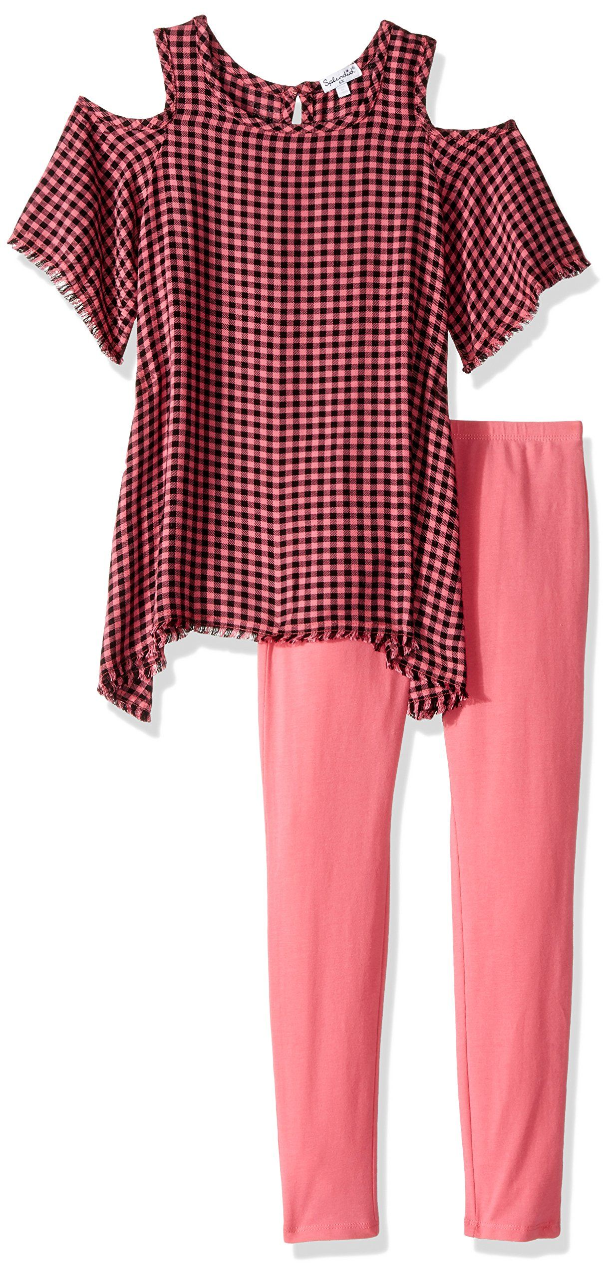 Splendid little girlsu yarn dyed plaid cold shoulder top set check