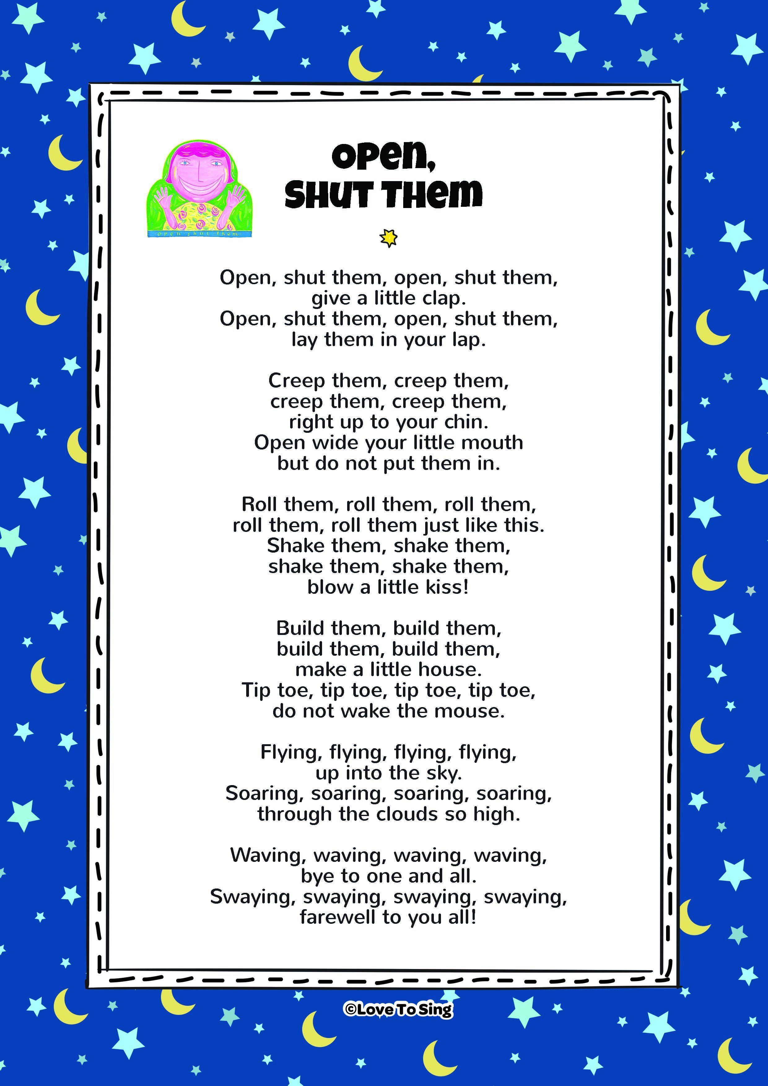 Open Shut Them Kids Video Song With Free Lyrics Activities