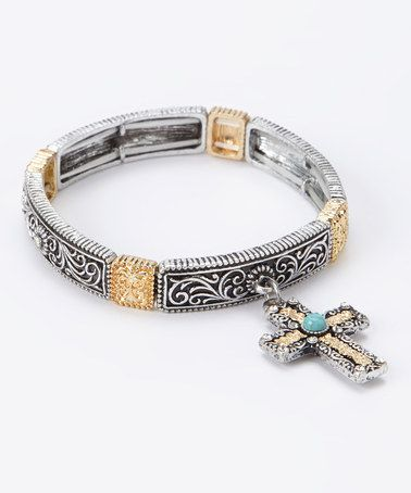 Take a look at this Gold & Turquoise Cross Stretch Bracelet by Gabrielle Jewelry on #zulily today! $19 !!