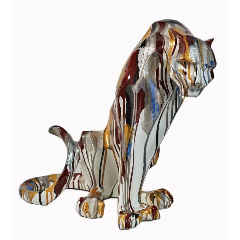Statuette sculpture d corative design panthere en r sine Objet de decoration interieur design