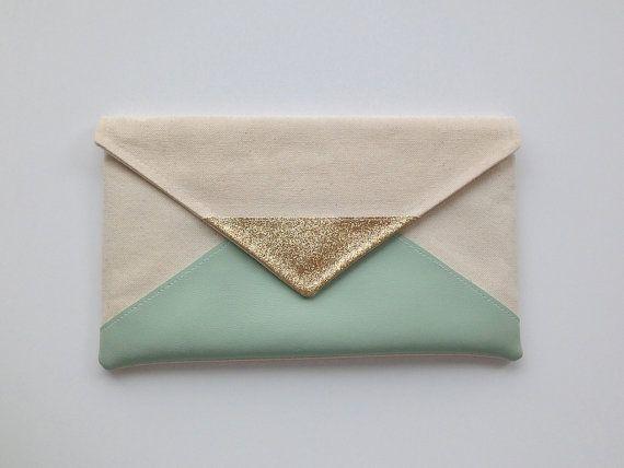 Glitter & Mint Envelope Clutch
