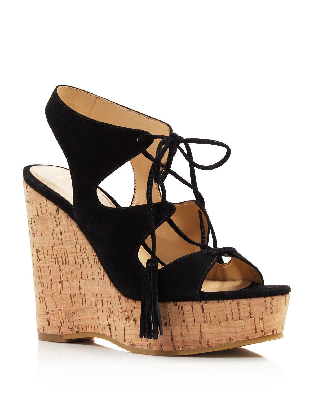 IVANKA TRUMP Zenia Lace Up Wedge Sandals - 100% Bloomingdale's Exclusive