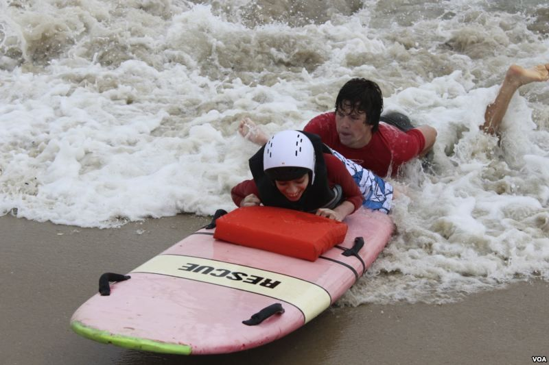 On Special Day, Disabled Kids Ride the Waves Kids ride