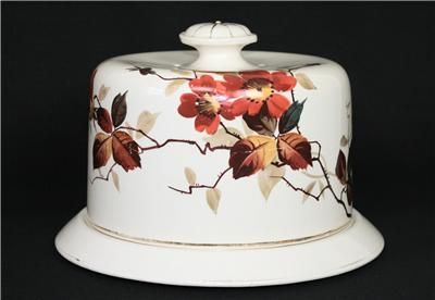 victorian cake domes | LARGE Antique VICTORIAN Pottery COVERED Bread CHEESE Cake BUTTER Dish