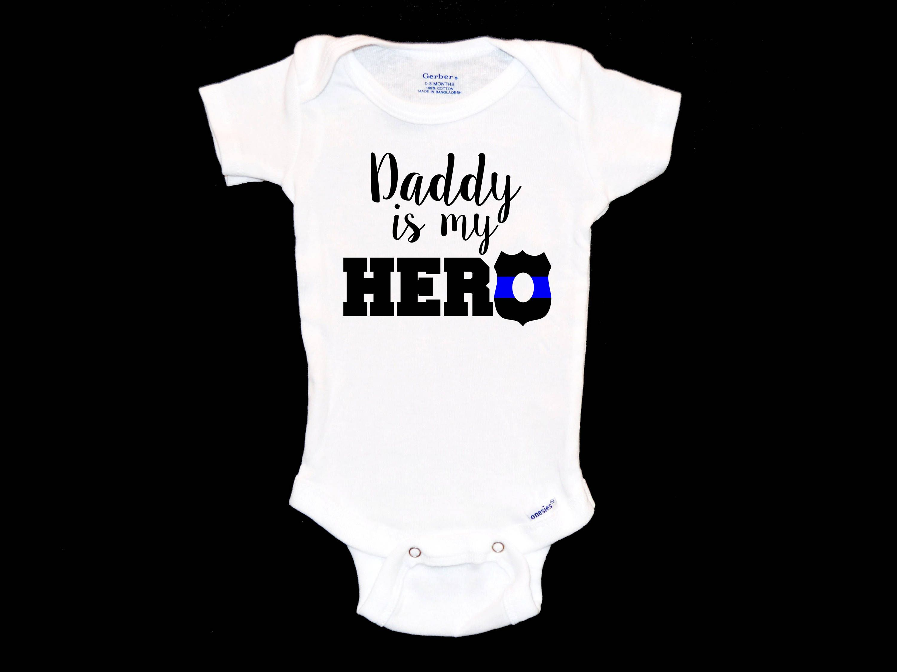 baby girl baby gift Daddy is my Hero- Police Dad baby clothes baby baby boy Police Badge- new dad gift- personalized bodysuit