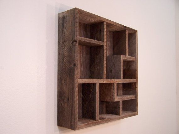 Wood Wall Art Display Shelves Shadowbox Made From Reclaimed Rustic Barn Western Decor Shadow