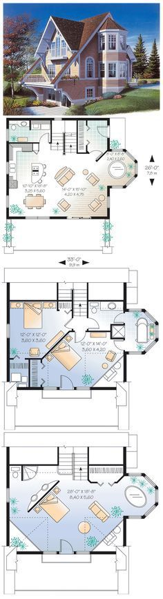 Victorian Style House Plan with 2 Bed 2 Bath