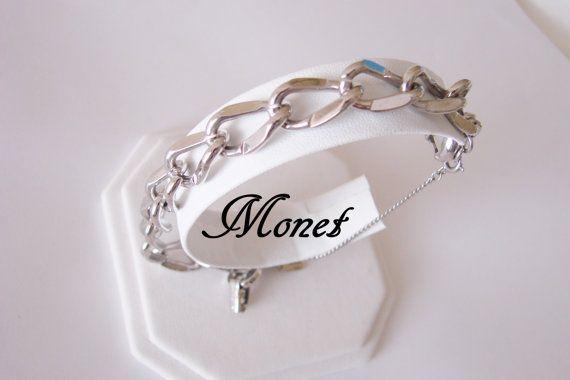 Beautiful Classic Retro Vintage Silver Tone Link Bracelet