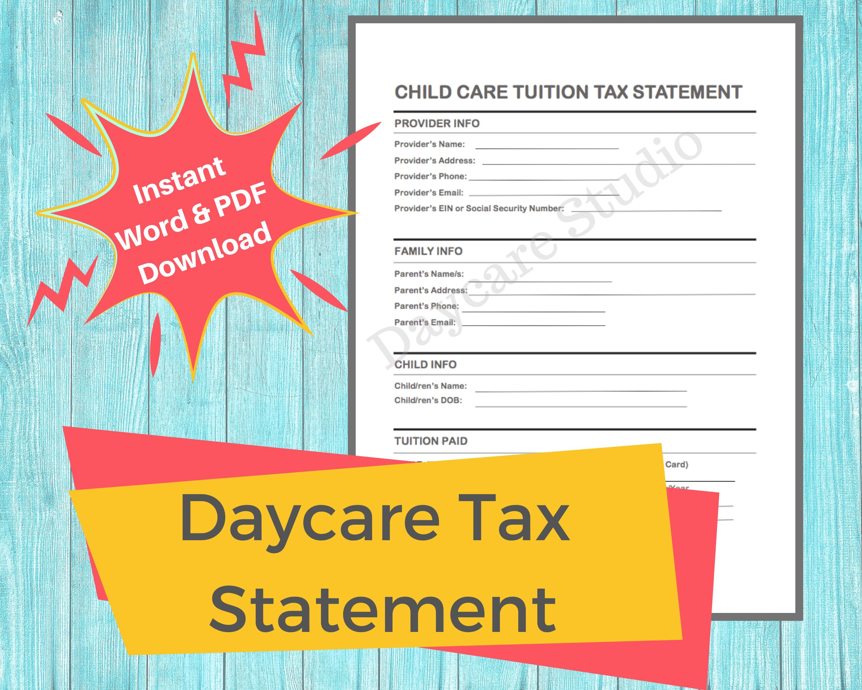 Daycare Tax Statement Childcare Center Printable End Of