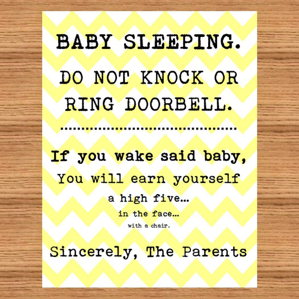 Baby Sleeping Sign Front Door Do Not Disturb High By Mommabish