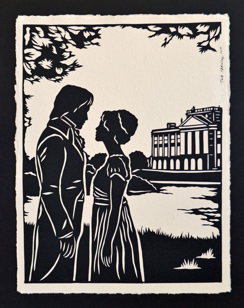 Pride and prejudice papercut elizabeth and darcy at pemberley sale 30 off coupon code sale30 pride and prejudice elizabeth and darcy at pemberley hand cut silhouette papercut by tinatarnoff on etsy fandeluxe Image collections
