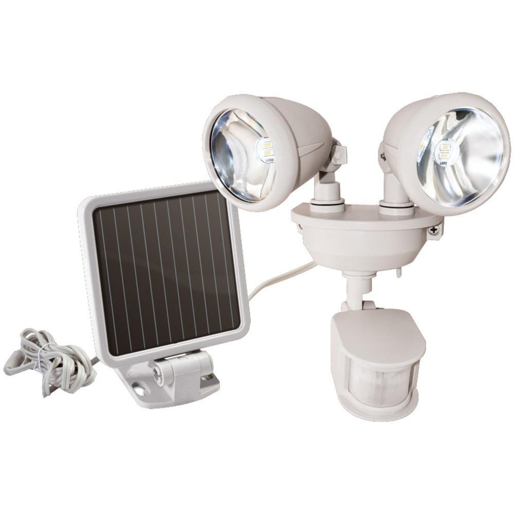 Maxsa Innovations Dual Head Solar Spotlight Off White Security