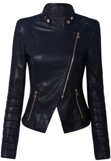 Black leather look collarless padded zip side jacket