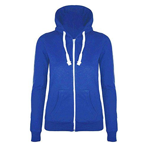 Womens Hoodie Hoody Plain Jumper Ladies Fleece Casual Sweater Sweatshirt Size