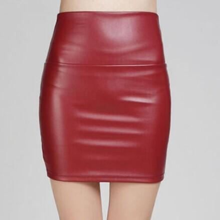 70119cbad149e 2018 spring autumn Fashion Women Skirts PU faux leather skirts tight ...