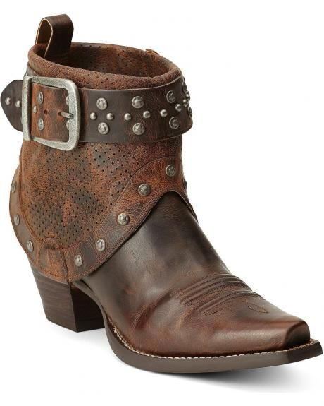 Ariat Defiance Studded Harness Short Cowgirl Boots - Snip Toe ...