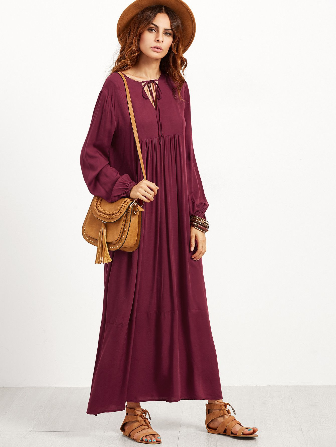 Burgundy v notch tie lantern sleeve maxi peasant dress products