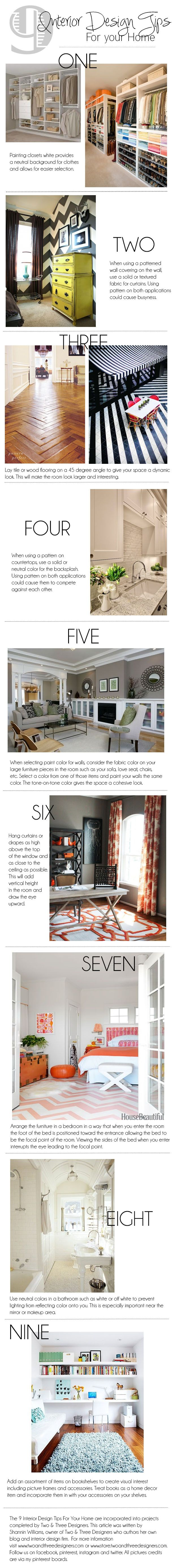 Some good tips for Home Staging, as well: 9 Interior Design Tips for ...