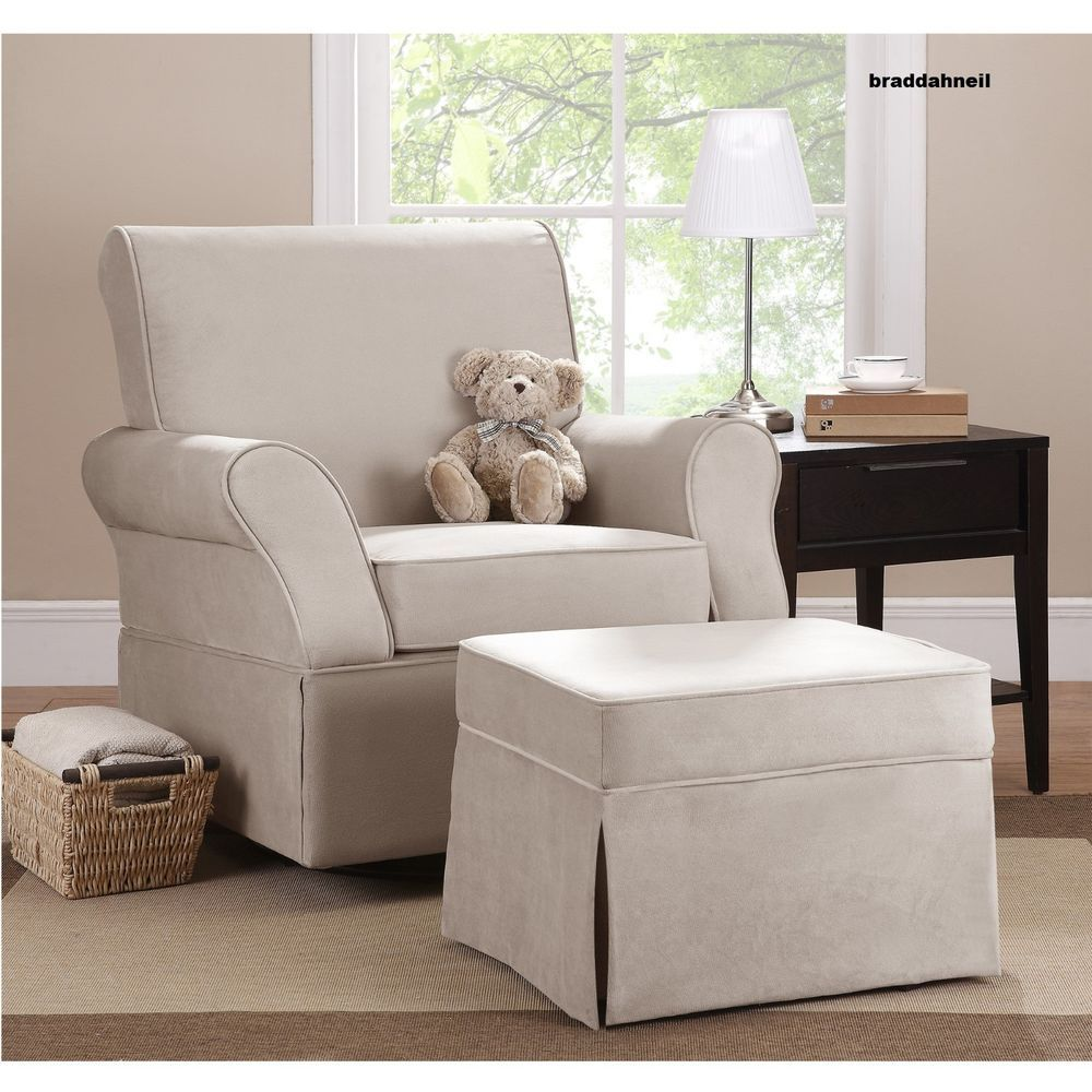 Glider Swivel Upholstered Chair Ottoman Infant Nursery Furniture Baby Beige  Whit