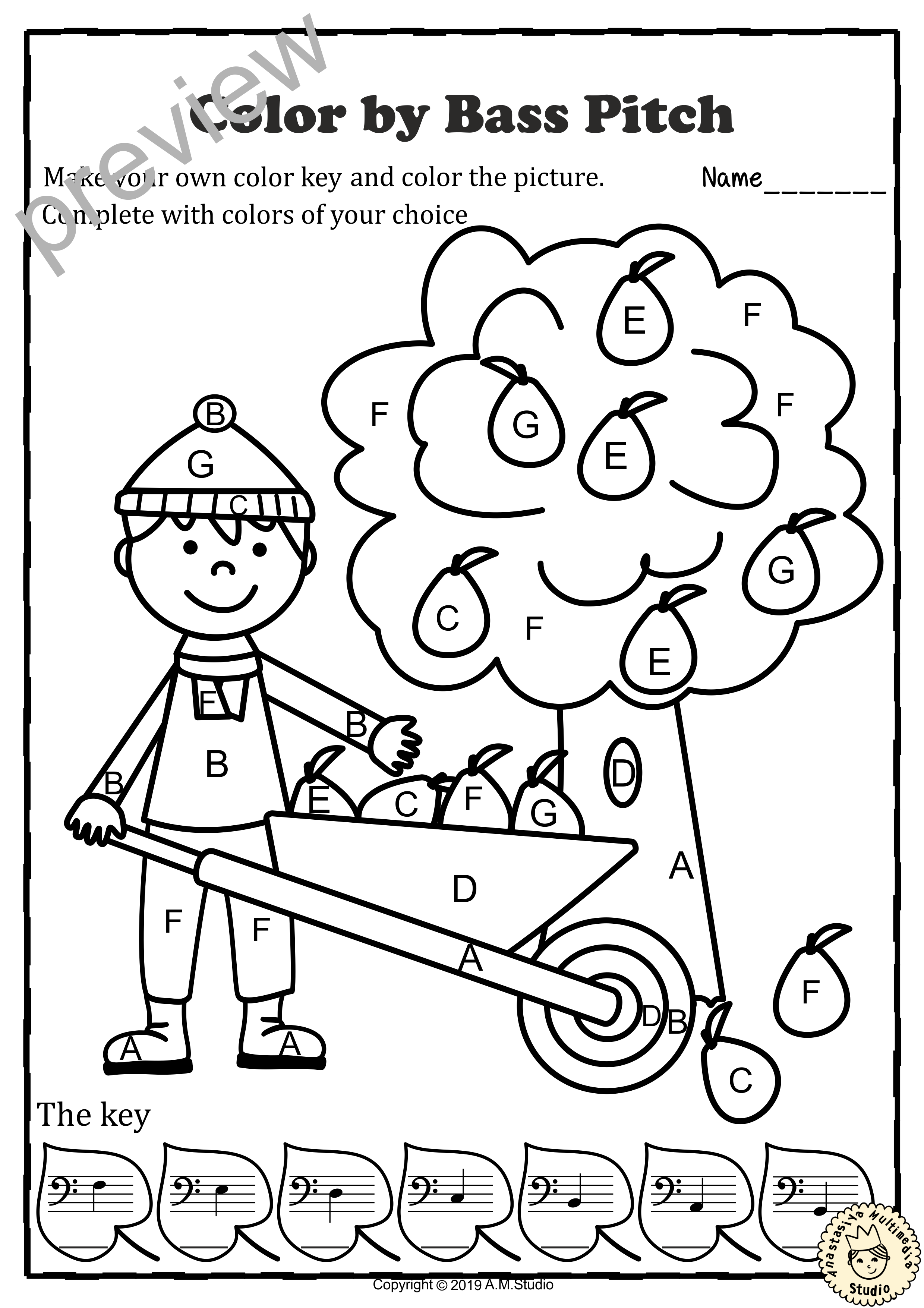 Musical Coloring Pages for Fall {Color by Bass Pitch} with