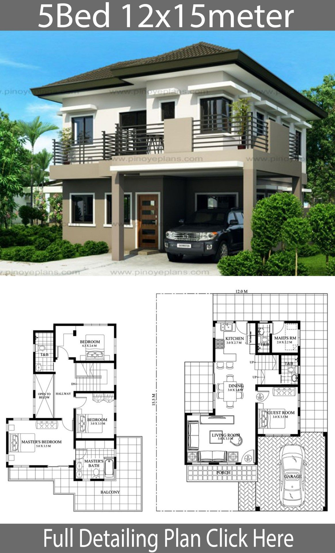 House Design 12x15m With 5 Bedrooms Home Design With Plansearch House Floor Design Duplex House Plans House Construction Plan