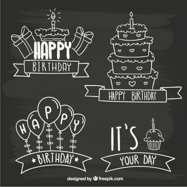 Blackboard Birthday Badges Free Vector Free Vector Freepik Freevector Birthday Label Happy Birthday Chalkboard Art Chalkboard Happy Birthday Chalkboard
