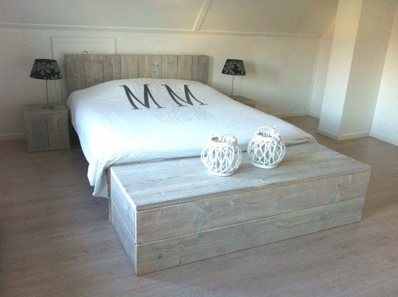 Steigerhout bed met steigerhout hocker slaapkamer dw pinterest