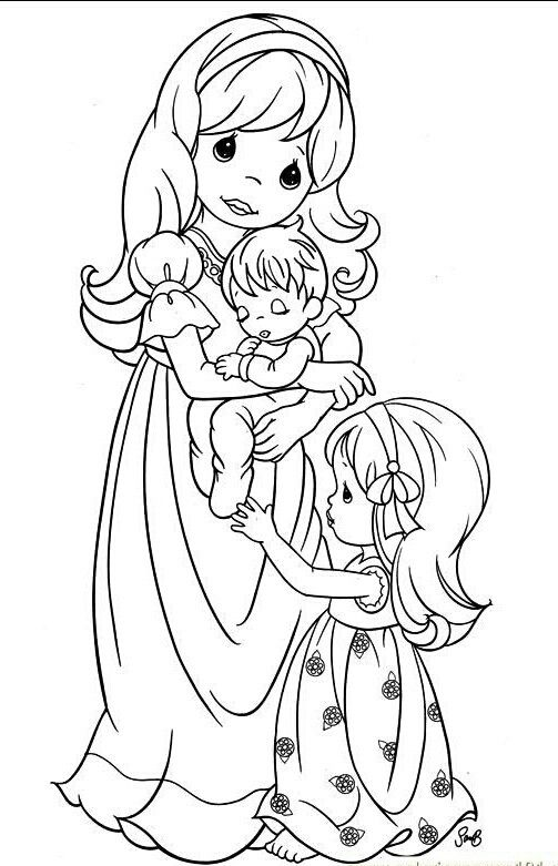 Precious Moments Mother With Children