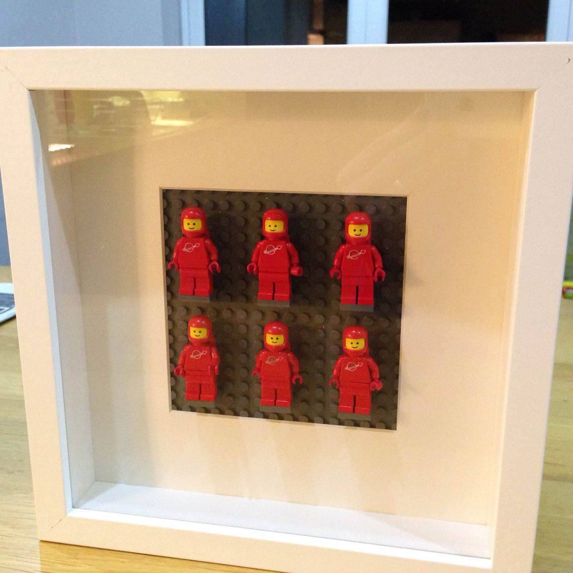 Lego vintage spacemen wall art using IKEA Ribba Picture