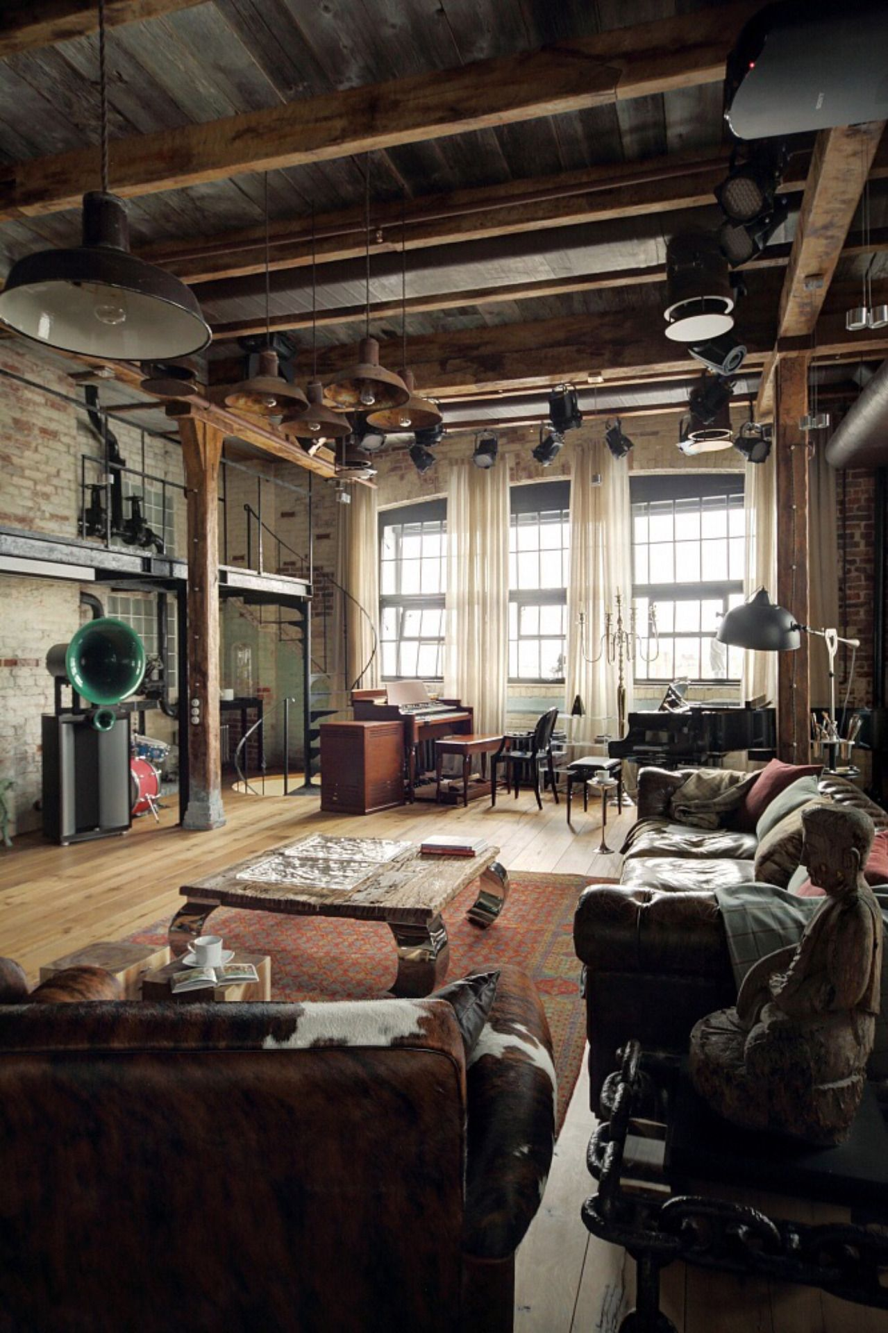 Home Interior Design — Eclectic industrial loft apartment with an ...