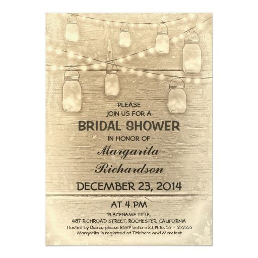 rustic stylish mason jars bridal shower invitation