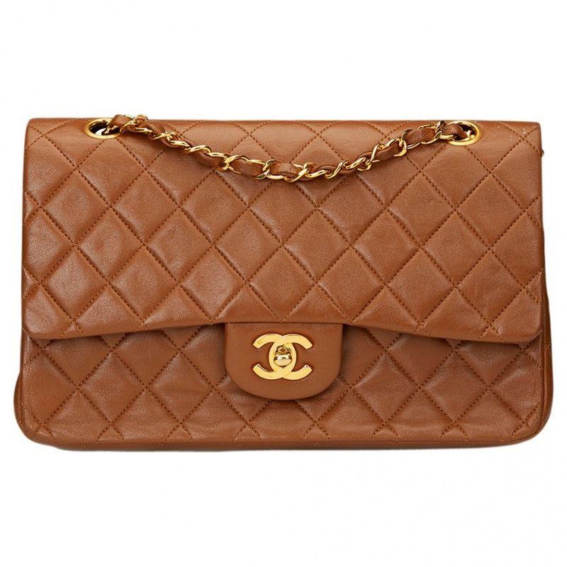 e1359cdcbb16 Chanel Mini/Small lambskin leather brown Plain Leather CHANEL Handbag - Vestiaire  Collective