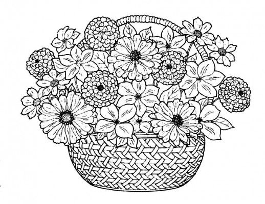Flower Bouquet In A Traditional Basket Coloring Pages Flower Coloring Pages Detailed Coloring Pages Free Coloring Pages