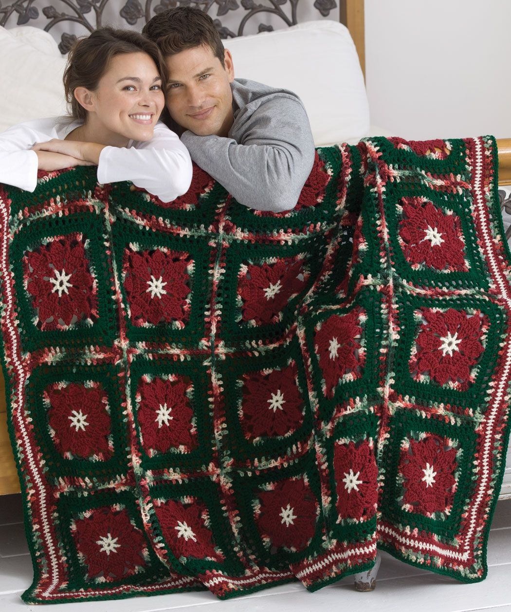 Poinsettia Throw free pattern from Redheart.com   Crochet Afghans ...