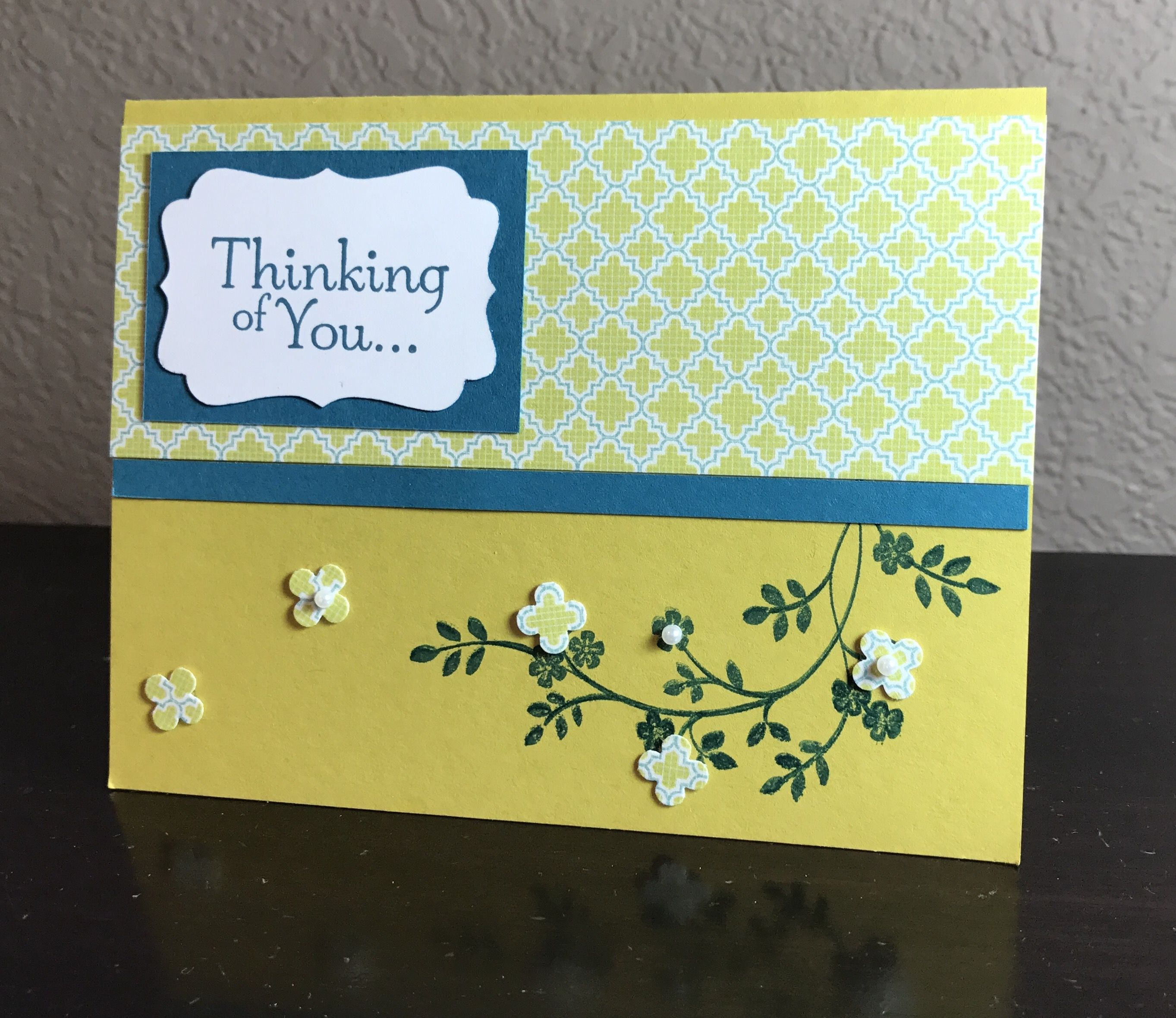 """""""Thinking of you"""" -handmade card in kiwi, teal and white with patterned paper. Cherry blossom. by Kassie Heisserer, 2017"""