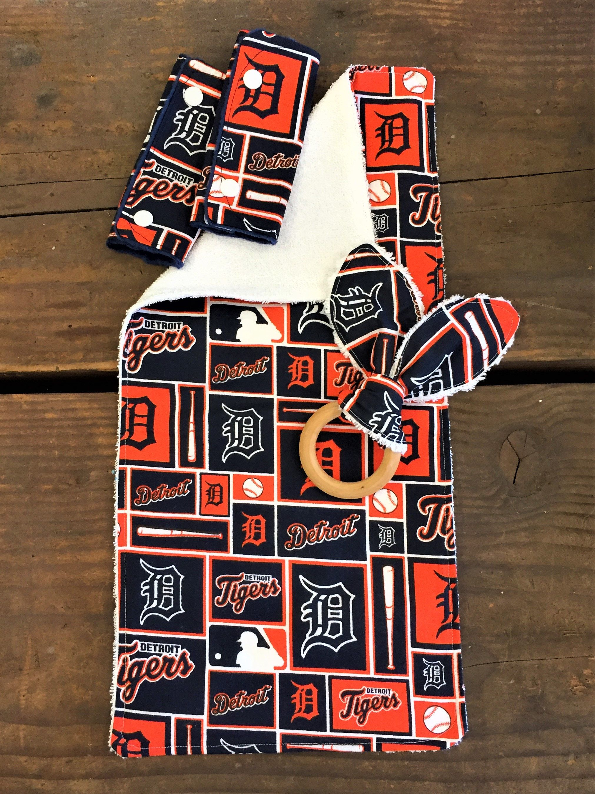 Detroit Tigers Infant Car Seat Strap Covers Burp Cloth Bunny Teether Set Or Individual