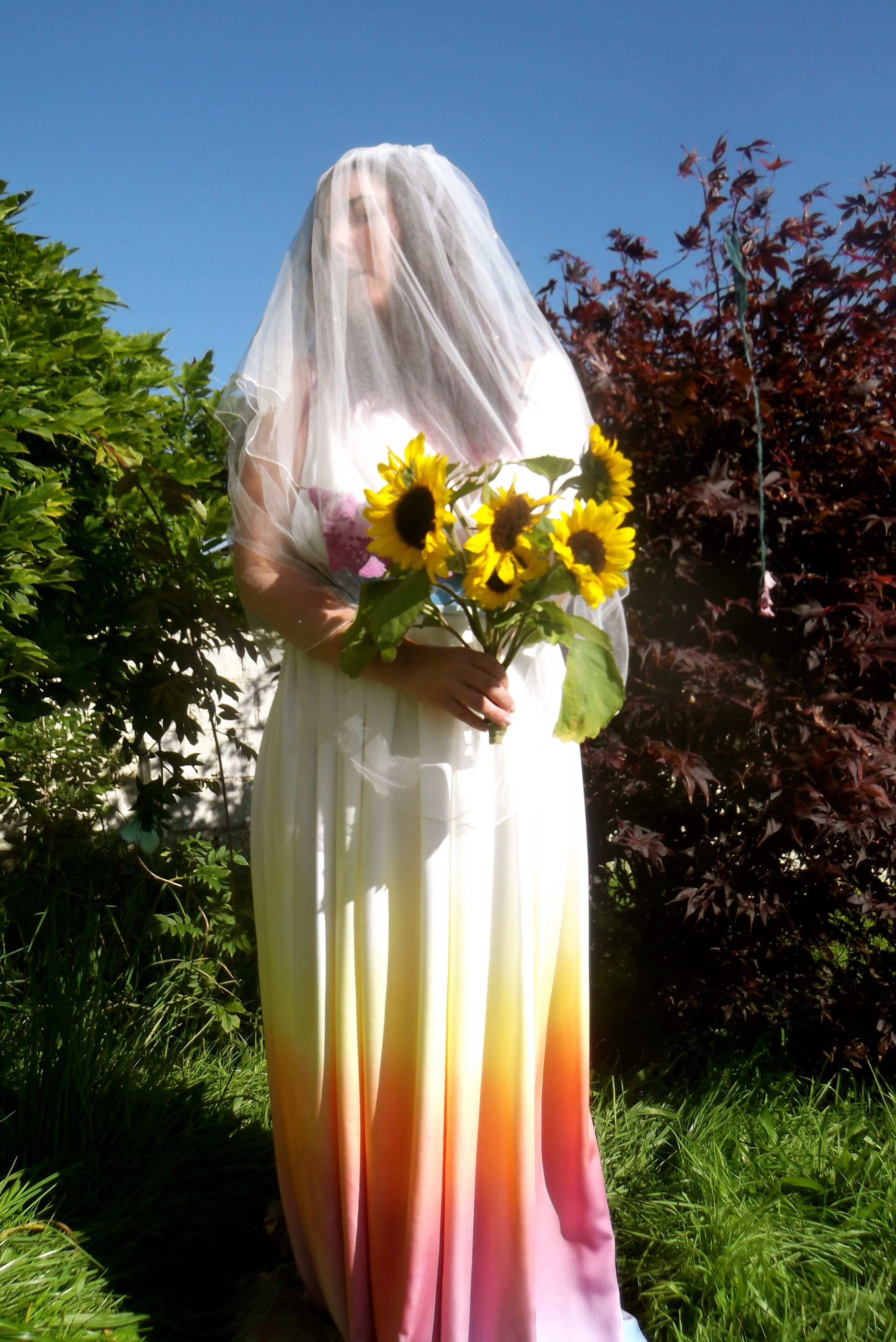 Dye wedding dress after wedding  Rainbow Dip Dye Bamboo Silk Grecian Style Draped Wedding Dress