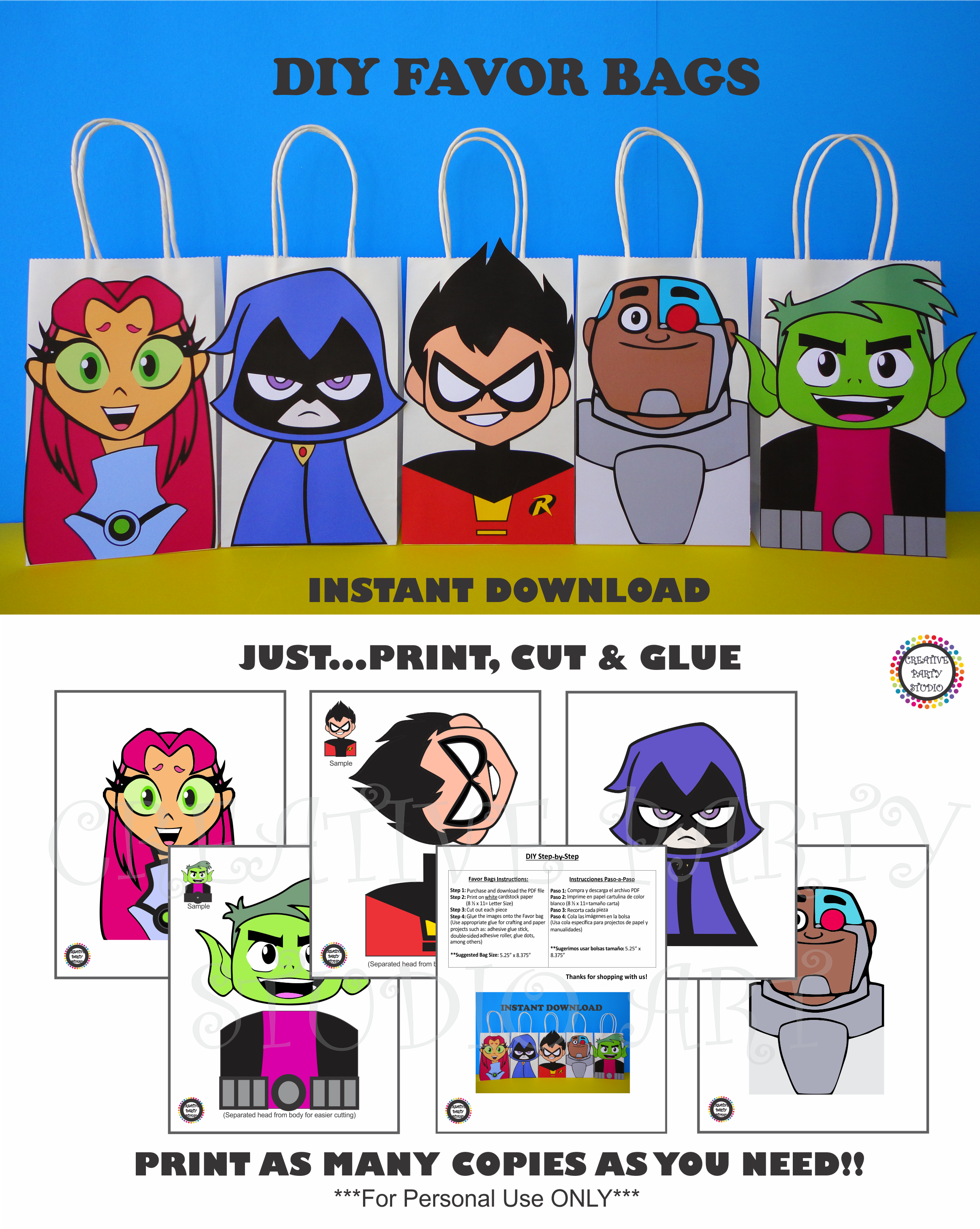 8302736ff1ba DIY Teen Titans Go Party FAVOR BAGS  Birthday Party Ideas  Printable  Decorations  Party Favors  Purchase these Printable templates   my Etsy  Shop   Teen ...