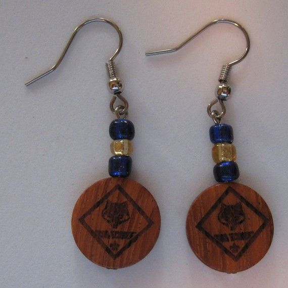 Cub Scouts Earrings Blue And Gold By Customschoolspirit On