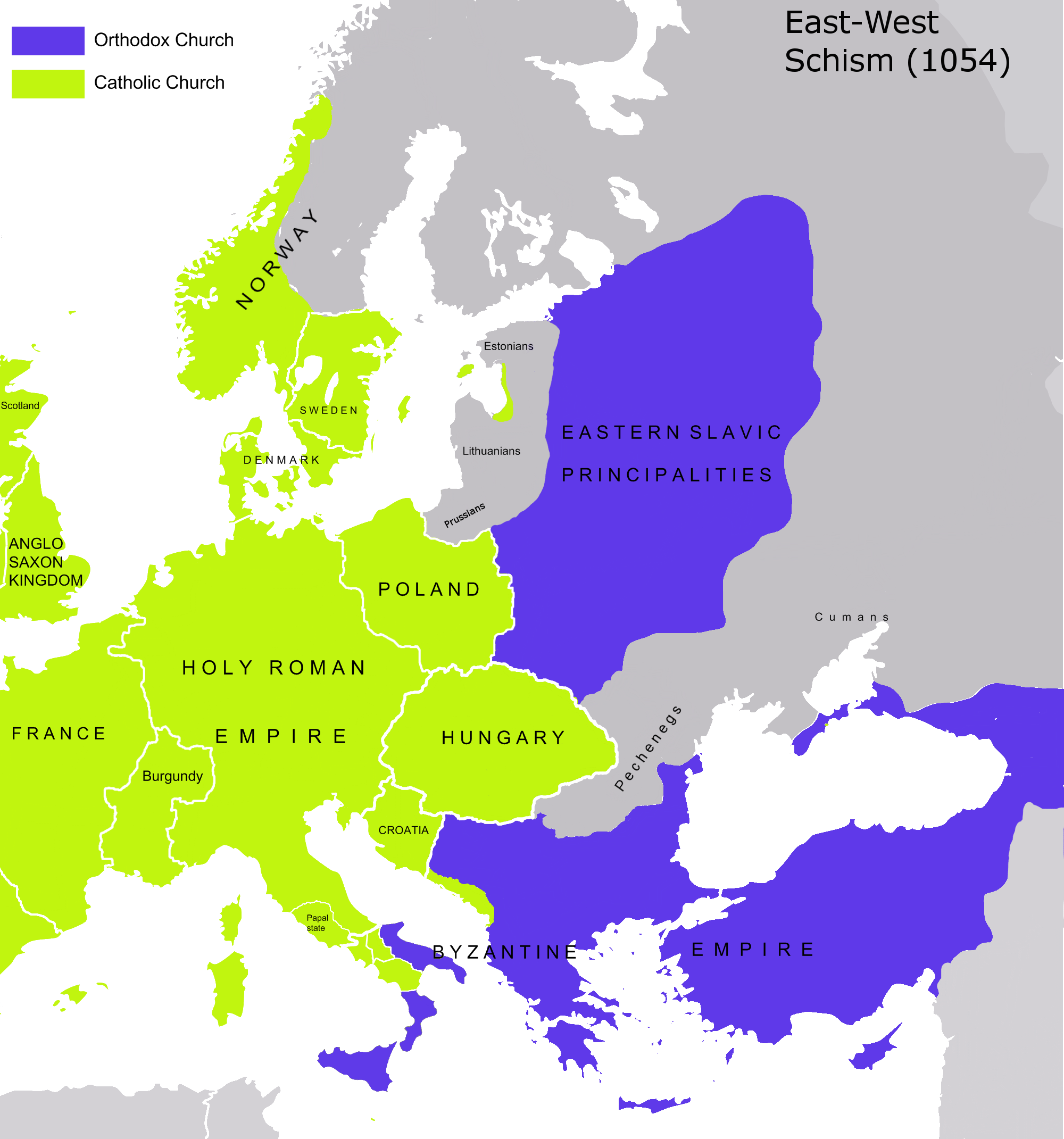 Map of the great schism 1054 eastern catholicism pinterest map of the great schism 1054 gumiabroncs Gallery