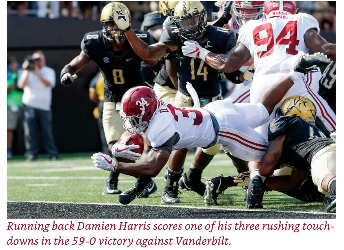 Damien Harris Scores 3 Rushing Tds Vs Vandy Picture Credit From The Book Bama Dynasty The Crimson Tide With Images Alabama Crimson Tide Alabama Football Crimson Tide