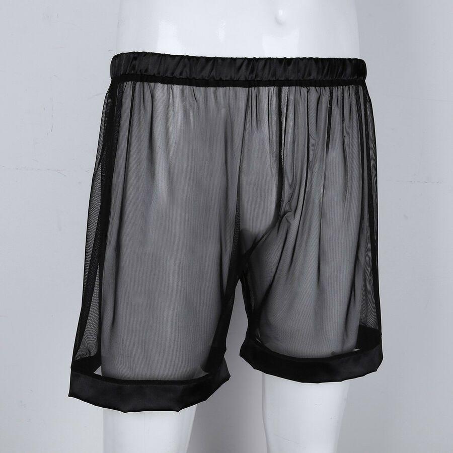 Mens Boxer Short Pants Mesh Patchwork Trunk Shorts See Through Underpants Gay
