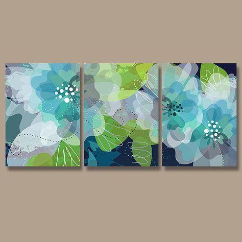 Wall Art Canvas Watercolor Artwork Flourish Flower Floral Design Navy Blue  Green Aqua Nursery Set Of